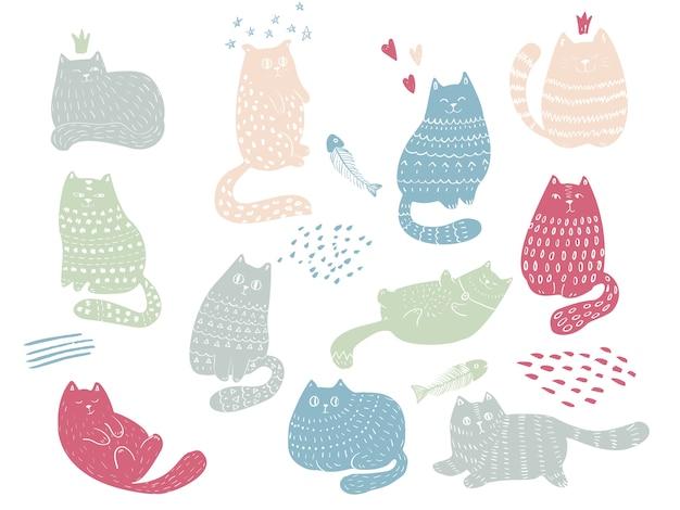 Zestaw zabawnych kotów doodle. śliczne zwierzaki i emocje. idealny na pocztówkę, walentynki, rocznicę, urodziny, książeczkę dla dzieci.