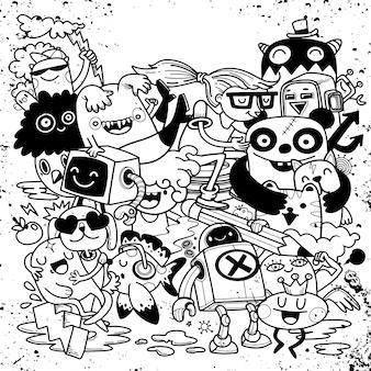 Zestaw zabawnych kreskówek doodle. ręcznie rysowane ilustracji