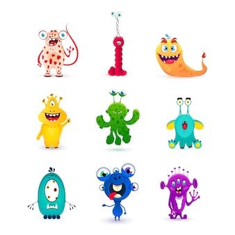 Zestaw zabawnych kreskówek emocji potworów: goblin, troll, cyklop, duch, potwory, kosmici. halloweenowy projekt. wielkie oko potwory wyrażające emocje. ilustracja wektorowa
