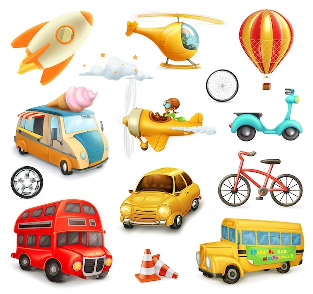 Zestaw zabawnych kreskówek transportu, samochodów i samolotów