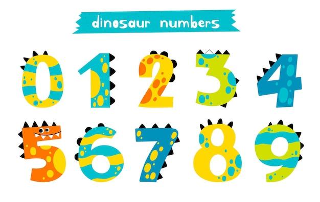 Zestaw zabawnych liczb dino w stylu doodle kolekcja uroczych starożytnych liczb od 0 do 9