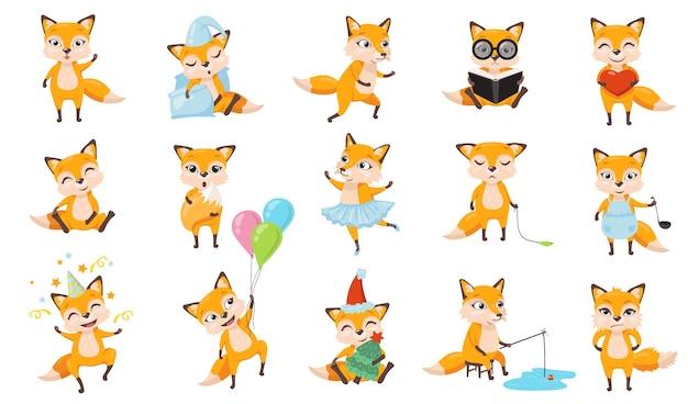 Zestaw zabawnych lisów. słodkie zwierzę z kreskówek w różnych pozach i działaniach, rudy lis śpi, gotowanie, spacery, wędkowanie, czytanie książki, obchodzi urodziny. do projektowania aplikacji mobilnych, koncepcja postaci dla dzieci