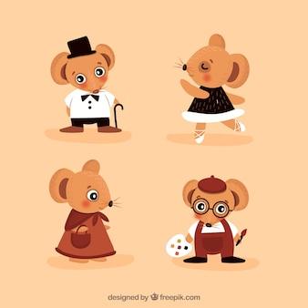 Zestaw zabawnych myszy