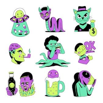 Zestaw zabawnych naklejek ręcznie rysowane w kwasowych kolorach