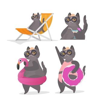 Zestaw zabawnych naklejek z kotami z różowym kółkiem do pływania. leżak, parasol. kot w okularach i kapeluszu. dobry na naklejki, karty i koszulki. zabawny baner na temat lata. wektor.