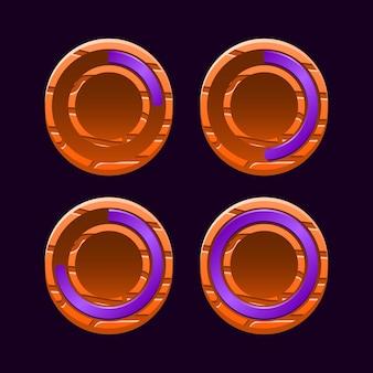 Zestaw zabawnych okrągłych drewnianych galaretek z paskiem postępu gry ui dla elementów zasobów gui