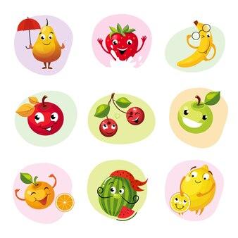 Zestaw zabawnych owoców znaków
