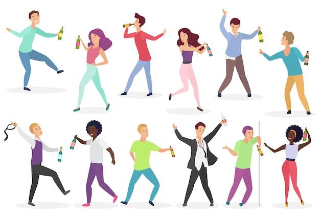 Zestaw zabawnych pijanych ludzi. mężczyźni i kobiety z butelkami napojów alkoholowych