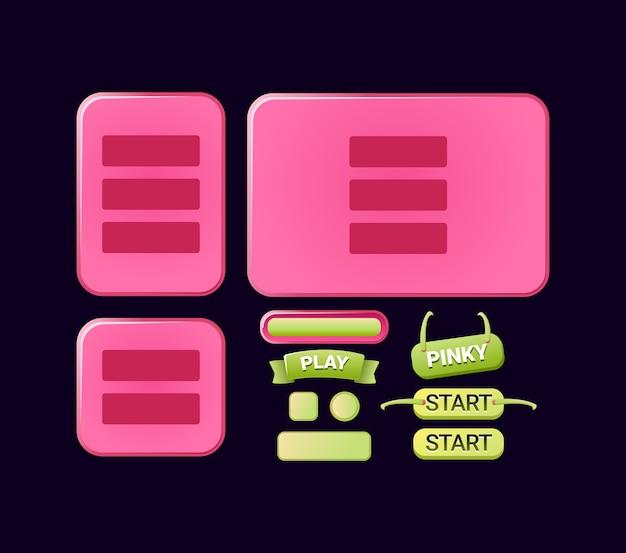 Zestaw zabawnych, pinky game ui board interfejsu szablonu dla elementów zasobu gui