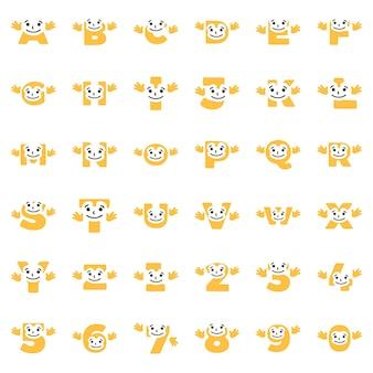 Zestaw zabawnych postaci w postaci liter i cyfr z rękami, wektor clipart.