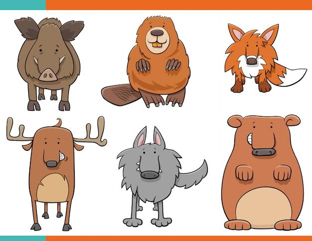 Zestaw zabawnych postaci z kreskówek dzikich zwierząt