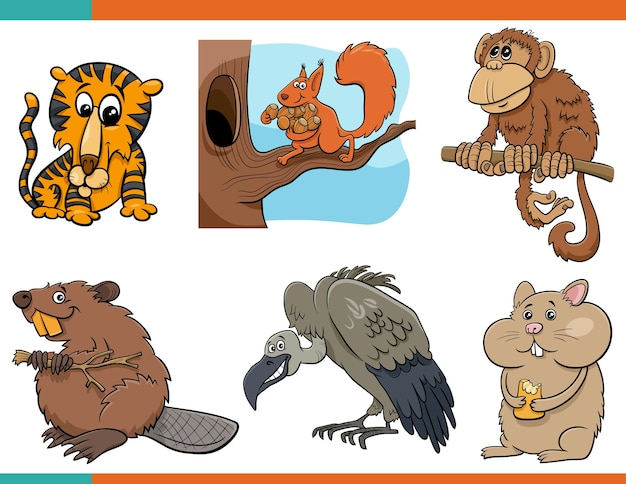 Zestaw zabawnych postaci z kreskówek zwierząt