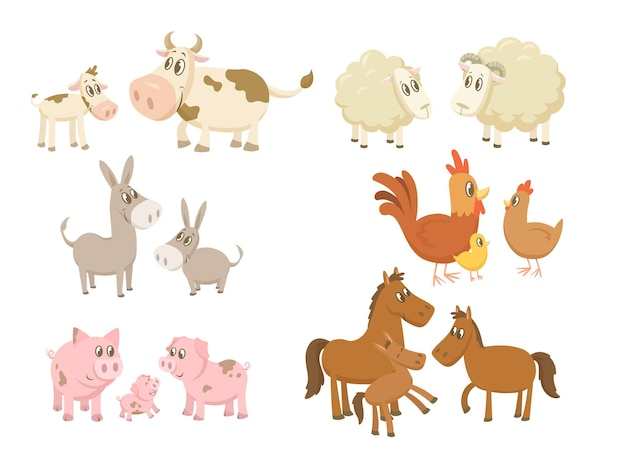 Zestaw zabawnych rodzin zwierząt gospodarskich. do