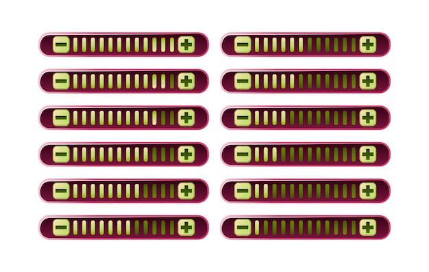 Zestaw zabawnych różowych panelu paska postępu gry z przyciskiem zwiększania i zmniejszania