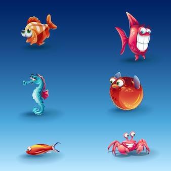 Zestaw zabawnych ryb kreskówek