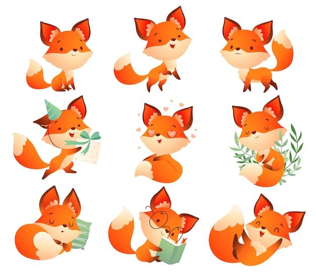 Zestaw zabawnych sytuacji inteligentnego lisa niezwykle słodki lis w różnych wzruszających momentach życia
