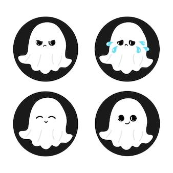 Zestaw zabawnych uroczych szczęśliwych postaci duchów