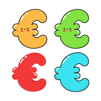 Zestaw zabawnych uroczych szczęśliwych znaków euro