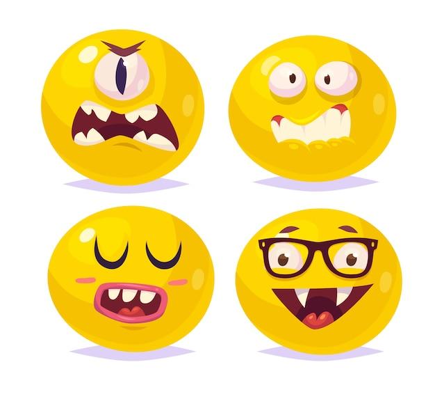 Zestaw zabawnych uśmiechów halloween. wampir dracula-potwór cyklop.