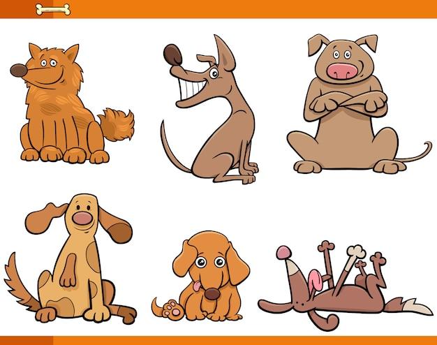Zestaw zabawnych znaków zwierząt psów i szczeniąt