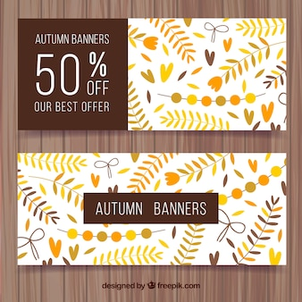 Zestaw zabytkowe transparenty jesiennych liści i rabatów