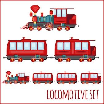 Zestaw zabytkowych lokomotyw na pustym tle