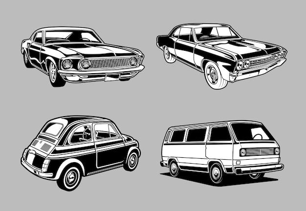 Zestaw zabytkowych muscle i klasycznych samochodów w monochromatycznych samochodach w stylu retro
