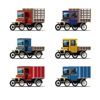 Zestaw zabytkowych samochodów ciężarowych w stylu retro na białym tle
