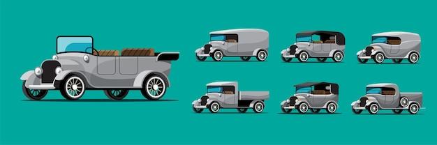 Zestaw zabytkowych samochodów w stylu retro na zielono