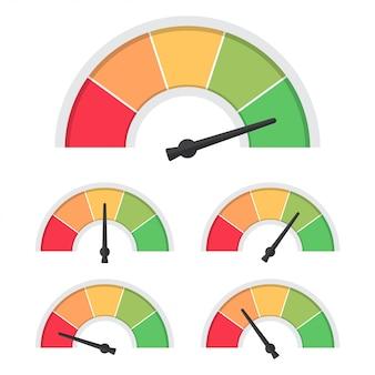 Zestaw zadowolenia klienta wskaźnika. prędkościomierz koncepcja informacji zwrotnej