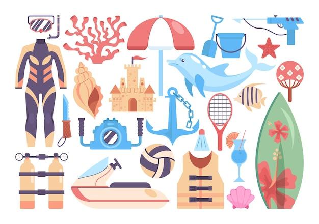 Zestaw zajęć na plaży. kolekcja rzeczy z wakacji letnich. kombinezon do nurkowania i deska surfingowa, sprzęt do sportów plażowych. aktywny wypoczynek na koncepcji plaży. ilustracja wektorowa płaski.