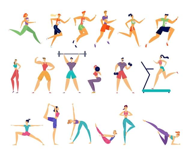 Zestaw zajęć sportowych. trening postaci sportowców płci męskiej i żeńskiej.