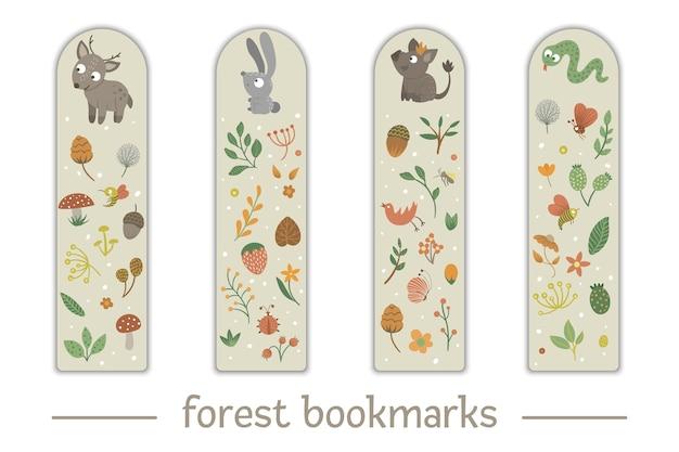 Zestaw zakładek dla dzieci z motywem zwierząt leśnych.