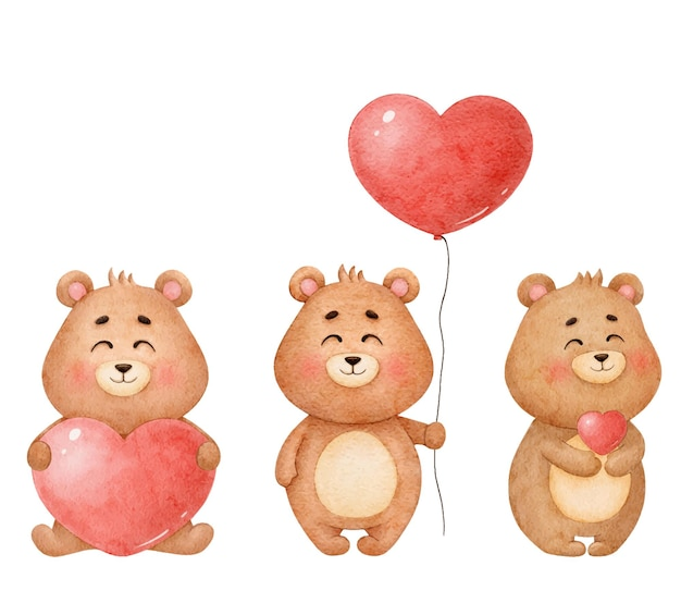 Zestaw zakochanych niedźwiedzi, ilustracje akwarela na walentynki