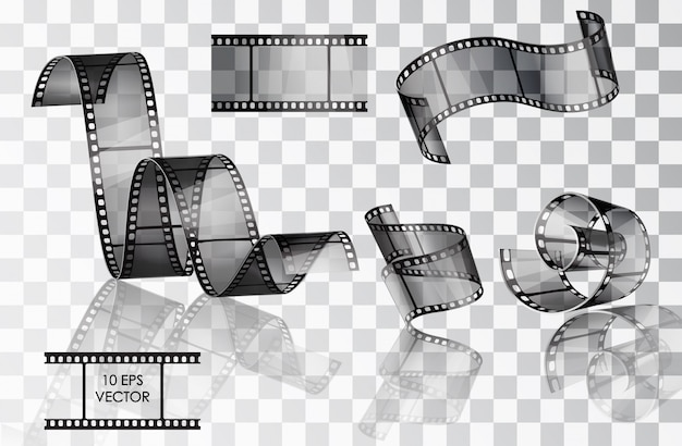 Zestaw zakrzywionego filmu fotograficznego. film. . twisted film. ślizgać się. sceny filmowe. rolka mediów filmowych.