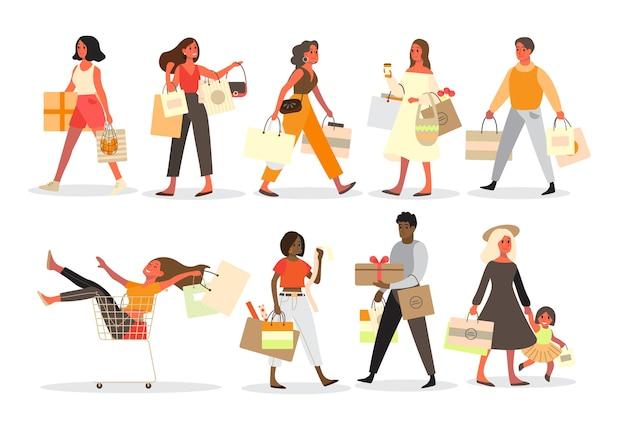 Zestaw zakupów ludzi. kolekcja osoby z torbą i pudełkiem. duża wyprzedaż i rabat. sklep spożywczy lub modowy. klient z torbami na zakupy. wesoły kupujący.