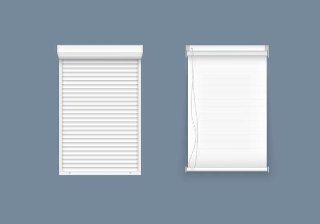 Zestaw żaluzji poziomych i pionowych do okien, elementów wnętrza. realistyczne zamknięte okiennice, widok z przodu. rolety poziome, pionowe zamknięte i otwarte do pomieszczeń biurowych. ilustracja