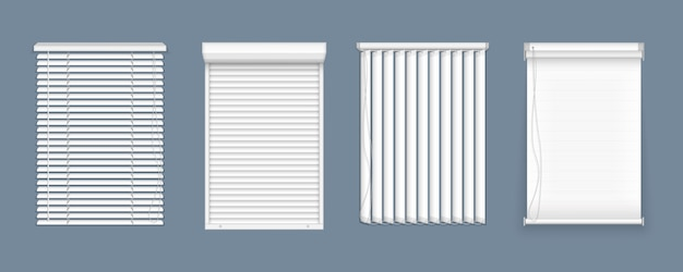 Zestaw żaluzji poziomych i pionowych do okien, elementów wnętrza. realistyczne zamknięte okiennice, widok z przodu. rolety poziome, pionowe zamknięte i otwarte do pomieszczeń biurowych.