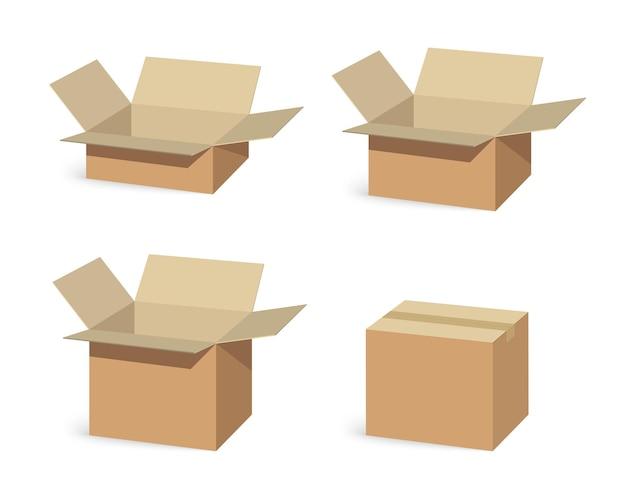 Zestaw zamkniętych i otwartych pudełek do pakowania