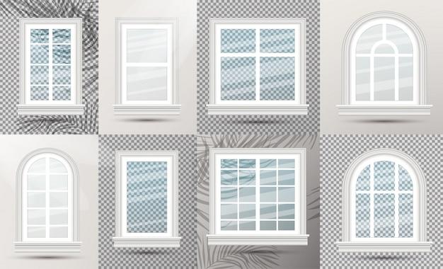 Zestaw zamkniętych realistycznych szklanych okien z cieniami.