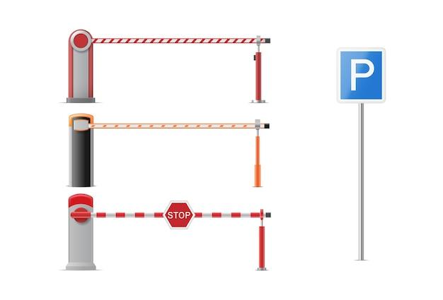Zestaw zamkniętych szlabanów parkingowych ze znakami stop i park