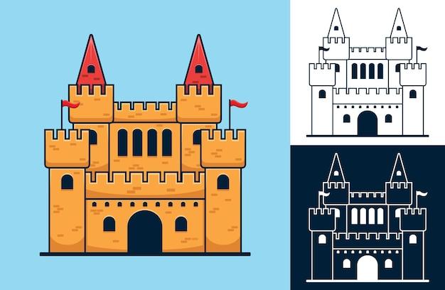 Zestaw zamku. ilustracja kreskówka wektor w stylu płaskiej ikony