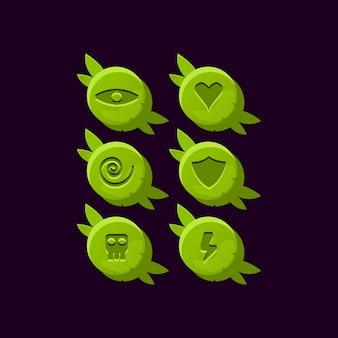 Zestaw zaokrąglonych drewnianych elementów interfejsu użytkownika gry pozostawia elementy aktywów gui
