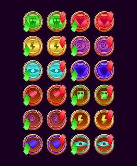 Zestaw zaokrąglonych drewnianych galaretek magicznych mocy do gry interfejsu użytkownika