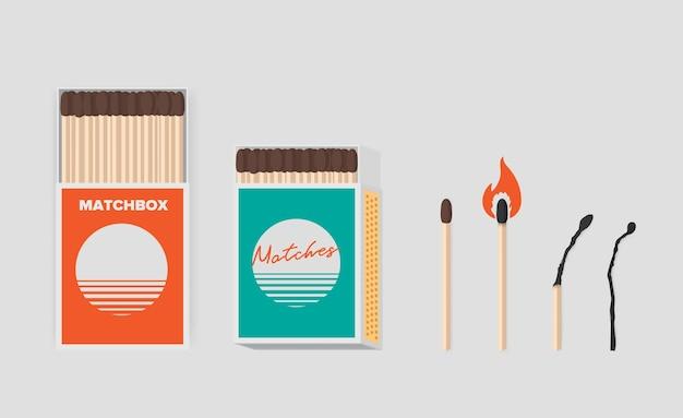 Zestaw zapałek i pudełka zapałek. patyczki w otwartych opakowaniach kartonowych. zapałka z siarką, paląca się i spalona. ilustracja kolorowy płaski wektor.
