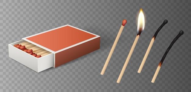 Zestaw zapałek: płonąca zapałka z ogniem, otwarte pudełko zapałek, spalona zapałka na białym tle na szarym tle. szczegółowa ilustracja wektorowa renderowania 3d