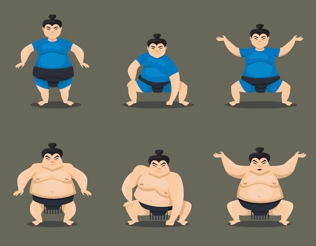 Zestaw zapaśników sumo w różnych pozach. postacie męskie i żeńskie w stylu cartoon.