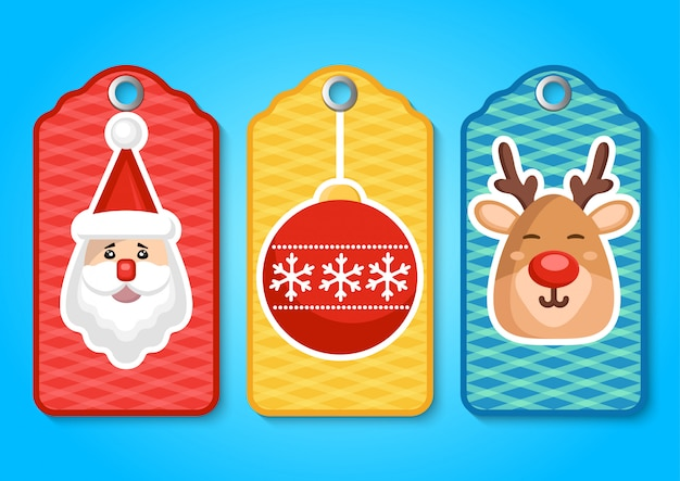 Zestaw zapasów ładny świąteczny tag.