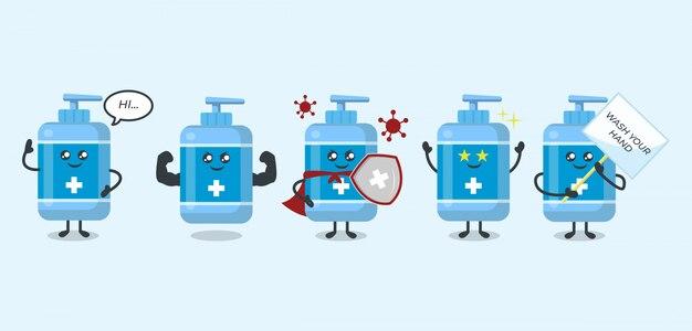 Zestaw zapobiegania dezynfekcji rąk z uroczej maskotki wirusa