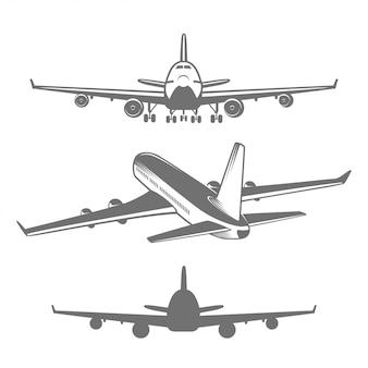 Zestaw zaprojektowanych ilustracji samolotów